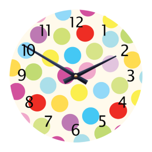 Colourful childrens/Toddlers Dotty Wall Clock