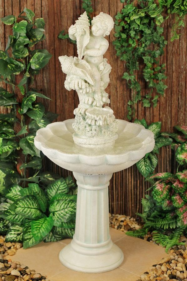 Cherub with Cascading Sea Shells Fountain H115cm - by Ambienté™
