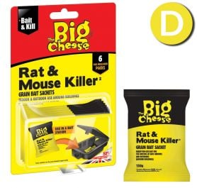 Rat & Mouse Killer Grain Bait Sachets - 6 x 25g