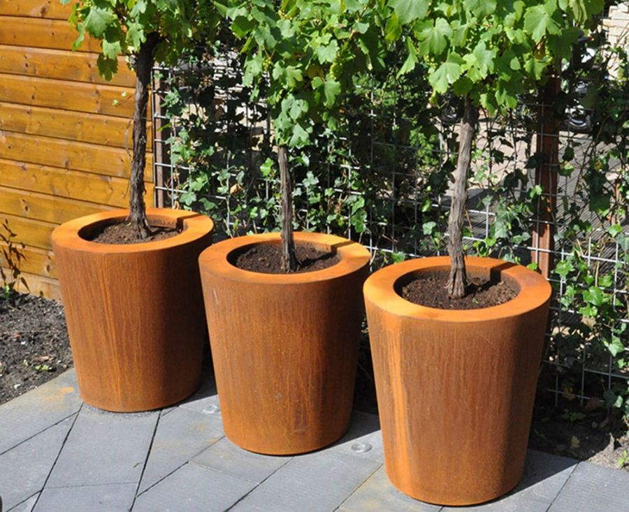50cm Cado Corten Steel Pot By Adezz
