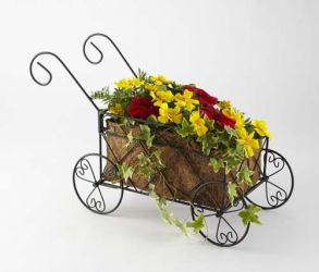 Metal Decorative Cart Planter With Coco Liner - H30cm x L57cm