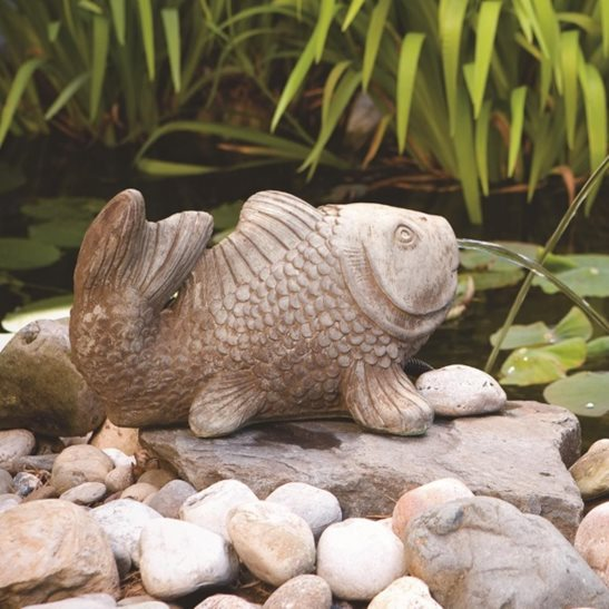 Cast Stone Koi - Spitter Water Feature Everglade Stone H22cm x W28cm