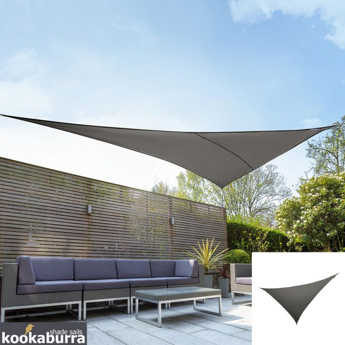 Kookaburra® 6m Right Angle Triangle Charcoal Knitted Breathable Shade Sail (Knitted)