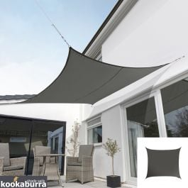 Kookaburra® 5.4m Square Charcoal Breathable Shade Sail (Knitted)