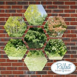 11¾in Set of 7 Small Hexagonal Silver Mirrors - by Reflect™