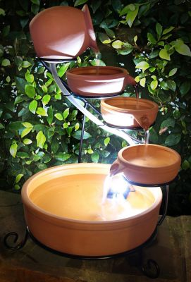 55cm Terracotta Solar Cascade Water Feature with Battery Backup and LED Lights by Solaray™