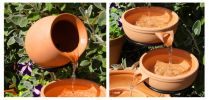 Terracotta Solar Cascade Water Feature with Battery Backup and LED Lights by Solaray�