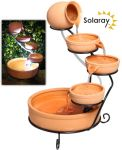 Terracotta Solar Cascade Water Feature with Battery Backup and LED Lights by Solaray™