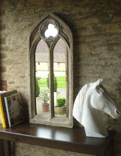 3ft 6in x 1ft 7in Gothic Double Arch Garden Window Glass Mirror - Large