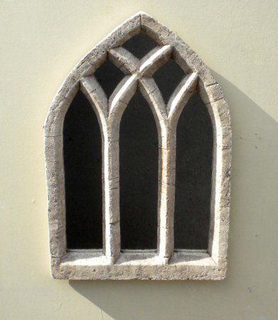 2ft 7in x 1ft Gothic Window Glass Mirror � Triple Arch