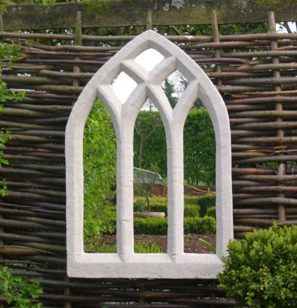 2ft 7in x 1ft Gothic Window Glass Mirror – Triple Arch