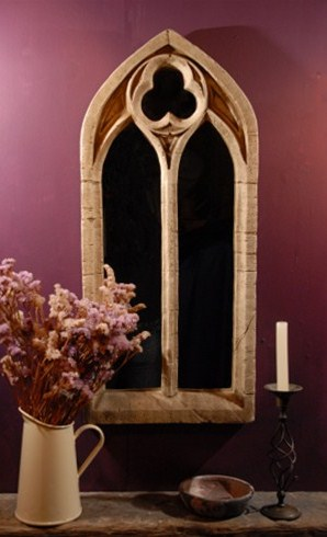 2ft 7in x 1ft 2in Gothic Double Arch Garden Window Glass Mirror - Small