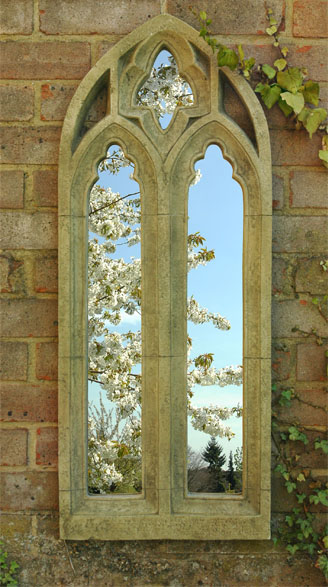 Gothic Arch Outdoor Stone Effect Mirror 163 64 99