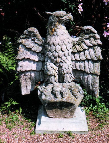Eagle Rizant Stone Statue Looking Over Left Shoulder