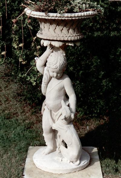 Child with Dog and Jardiniere Stone Statue