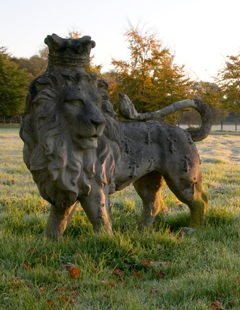 Heraldic Lion Looking Over Left Shoulder Stone Statue