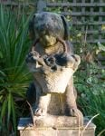 Dog with Flower Basket Stone Statue
