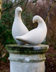 Pair of Doves Stone Statue