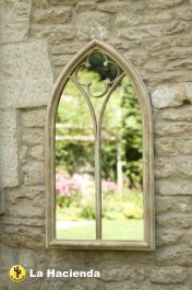 3ft 5in x 1ft 10in Stone Effect Church Window Wall Glass Mirror - La Hacienda