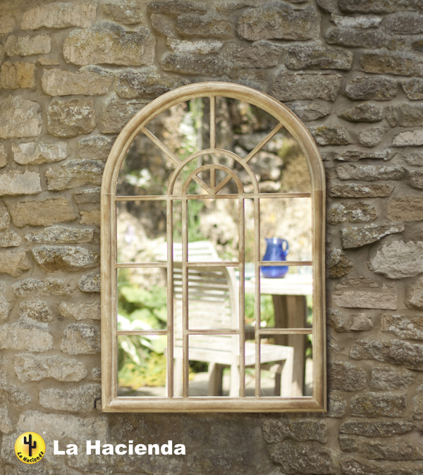 3ft 2in x 2ft 2in Stone Effect Victorian Style Wall Glass Mirror - La Hacienda