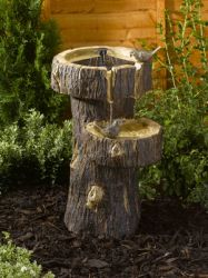 H60cm Tree Trunk Bird Bath Water Feature