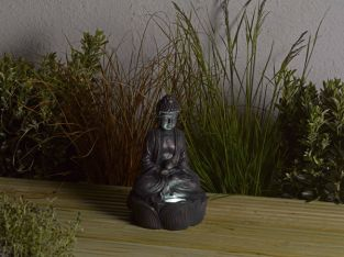Smart Solar Bronze Effect Buddha Statuette with Light