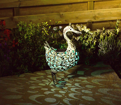 Smart Solar Iron Duck Silhouette with Light