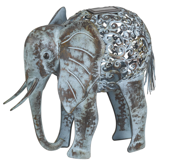 Smart Solar Metal Elephant Silhouette with Light