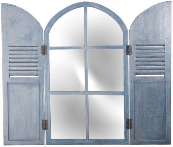 2ft 9in x 1ft 6in Arched Glass Garden Mirror with Wooden Shutters - by Reflect�