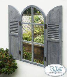 2ft 9in x 1ft 6in Arched Glass Garden Mirror with Wooden Shutters - by Reflect™