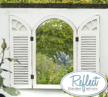 2ft 4in x 1ft 6in Antique Glass Garden Mirror with Wooden Shutters - by Reflect™