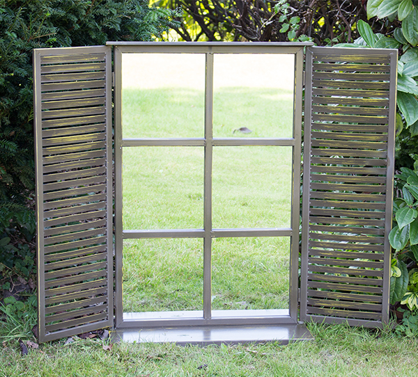 2ft 7in x 1ft 10in Country Shuttered Window Glass Garden Mirror - by Reflect™