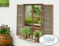 2ft 7in x 1ft 10in Country Shuttered Window Glass Garden Mirror - by Reflect�