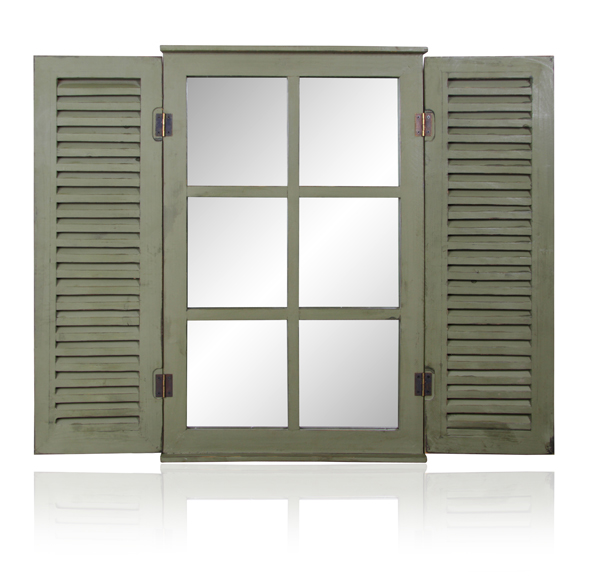 2ft 4in x 1ft 6in Country Window Glass Garden Mirror with Shutters - by Reflect™
