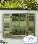 2ft 4in x 1ft 6in Country Window Glass Garden Mirror with Shutters - by Reflect�