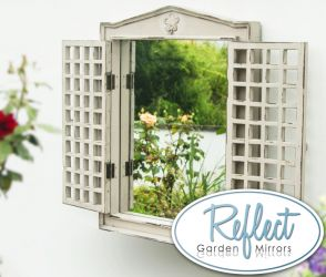 2ft x 1ft 7in Antique Effect Glass Garden Mirror with Wooden Shutters - by Reflect™