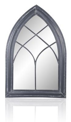 2ft 6in x 1ft 7in Gothic Wooden Effect Glass Garden Mirror - by Reflect™