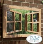 1ft 10in x 3ft 4in Double Window Effect Glass Garden Illusion Mirror - by Reflect�
