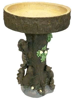 65cm Squirrel Tree Stump Bird Bath