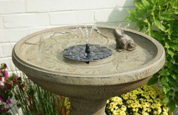 80cm Frog Lily Falls Solar Bird Bath Water Feature with Lights and Automation Function by Solaray™