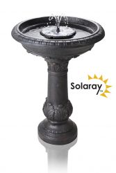 H65cm Windsor Solar Bird Bath Water Feature with Lights & Automation Function by Solaray