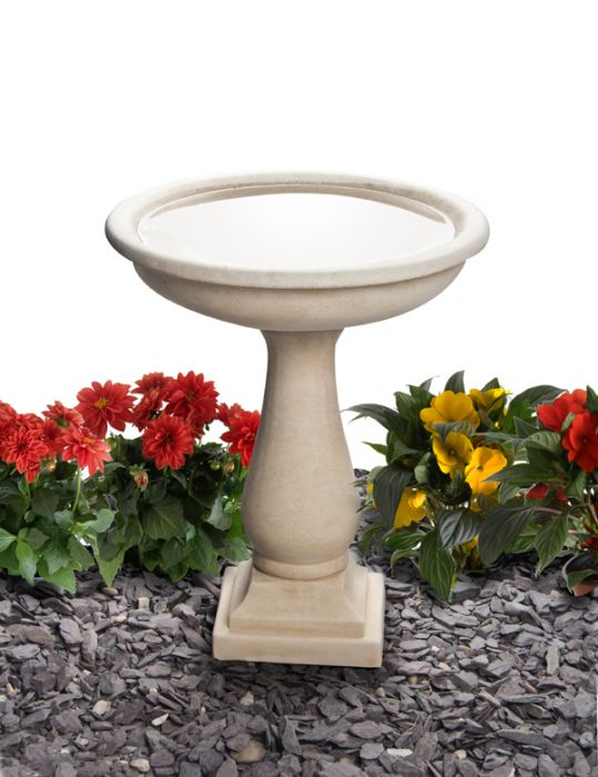 H50cm Clermont Round Cast Stone Bird Bath