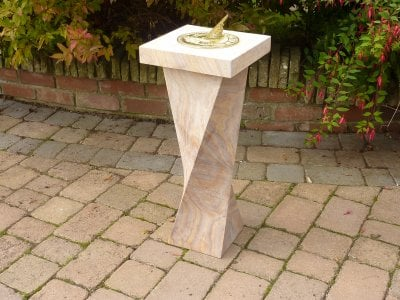 Brass Sundial with Hummingbird Design and Sandstone Base