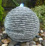 Rustic Sphere Water Feature - Grey Granite