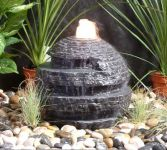 Rustic Sphere Water Feature- Black Granite