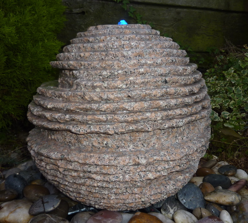 Rustic Sphere Water Feature - Pinky Granite