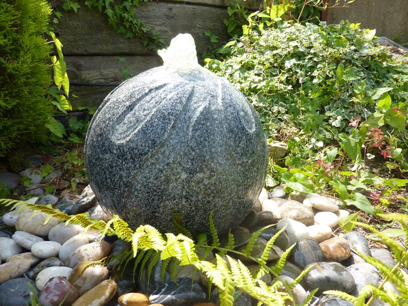 Flamed Sphere Garden Ornament- Dark Grey Granite