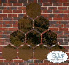 1ft 3¾in Set of 10 Hexagonal Bronze Mirrors - by Reflect™