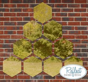 11¾in Set of 10 Small Hexagonal Gold Mirrors - by Reflect™