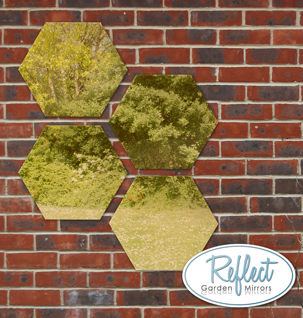 11¾in Set of 4 Small Hexagonal Gold Mirrors - by Reflect™